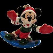Vintage Enesco Mickey Mouse Ceramic Christmas Disney tree Ornament 1990s Good Condition