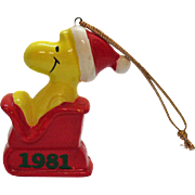 Vintage United Artist Inc. Ceramic Woodstock on Sleigh Christmas tree Ornament 1981 Good Condition