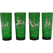 Vintage Anchor Hocking 4 Forest Green Gay Nineties Glasses 1950-65 Good Condition