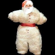 Vintage Folk Art Santa Claus Cotton Body Paper Face Tree Ornament 1940s Good Condition