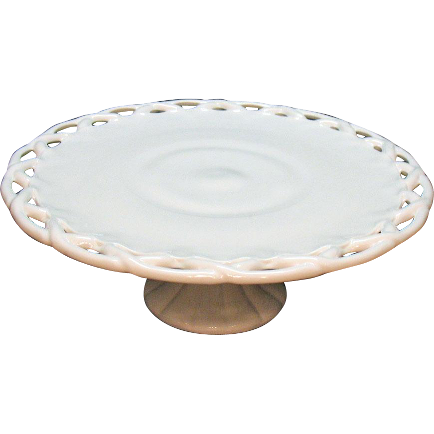 Vintage Colony Lancaster Pedestal Closed Lacey Edge Milk Glass Cake Plate 1960s Good Condition