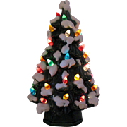 Vintage Ceramic Christmas Tree Faux Lights Lite up Bottom 1970s Good Vintage Condition