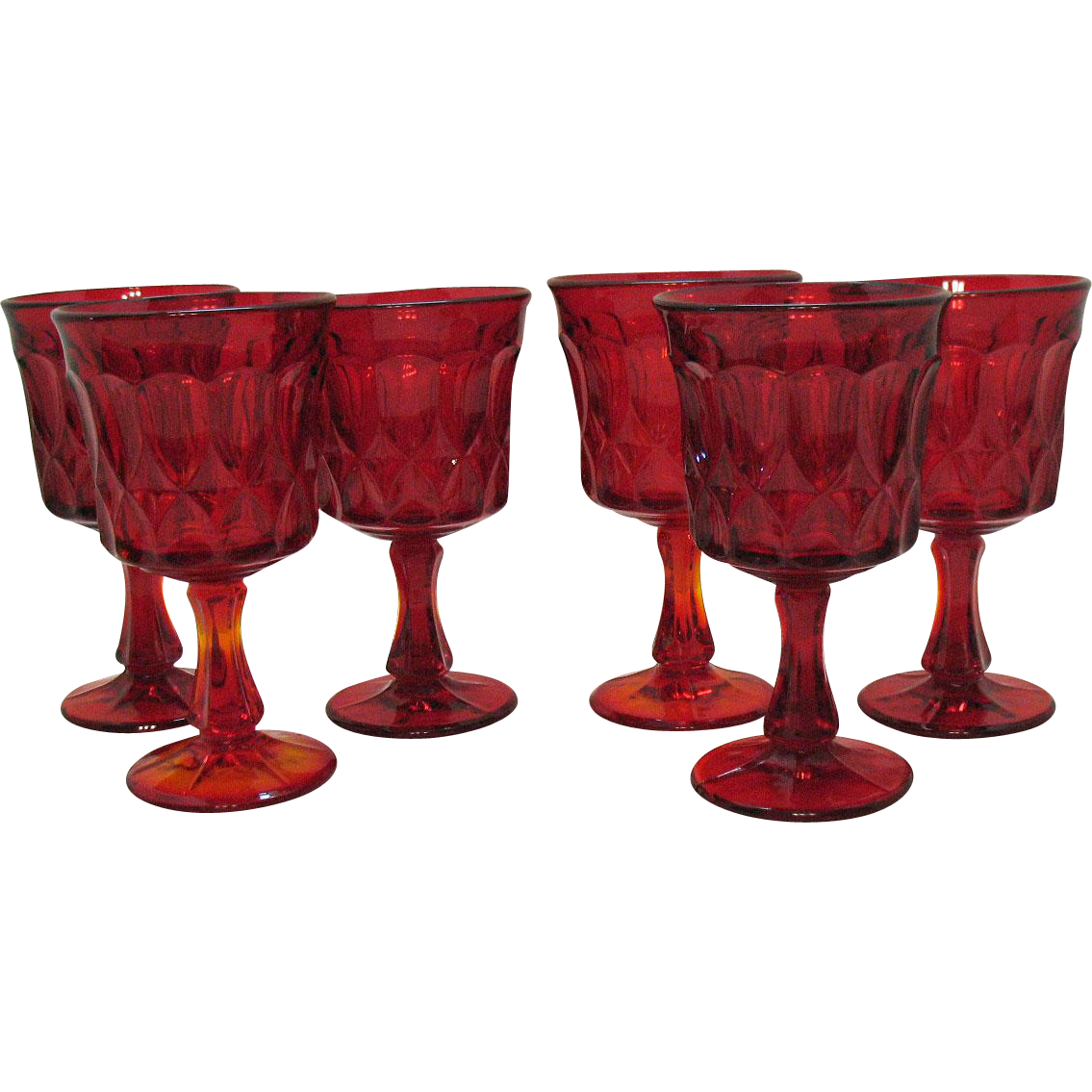 Vintage Noritake Ruby Red 6 Water Goblets Perspective Pattern 1970-85 Good Condition