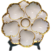 Antique Porcelain Oyster Plate Gilded T.V. France 1907-1919 Good Condition