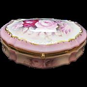 Vintage Porcelain Dresser Box Signed on Lid 1920-30s Good Condition