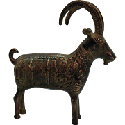 Vintage Persian Bronze Ram Figurine Raised Ancient Scenes Good Condition