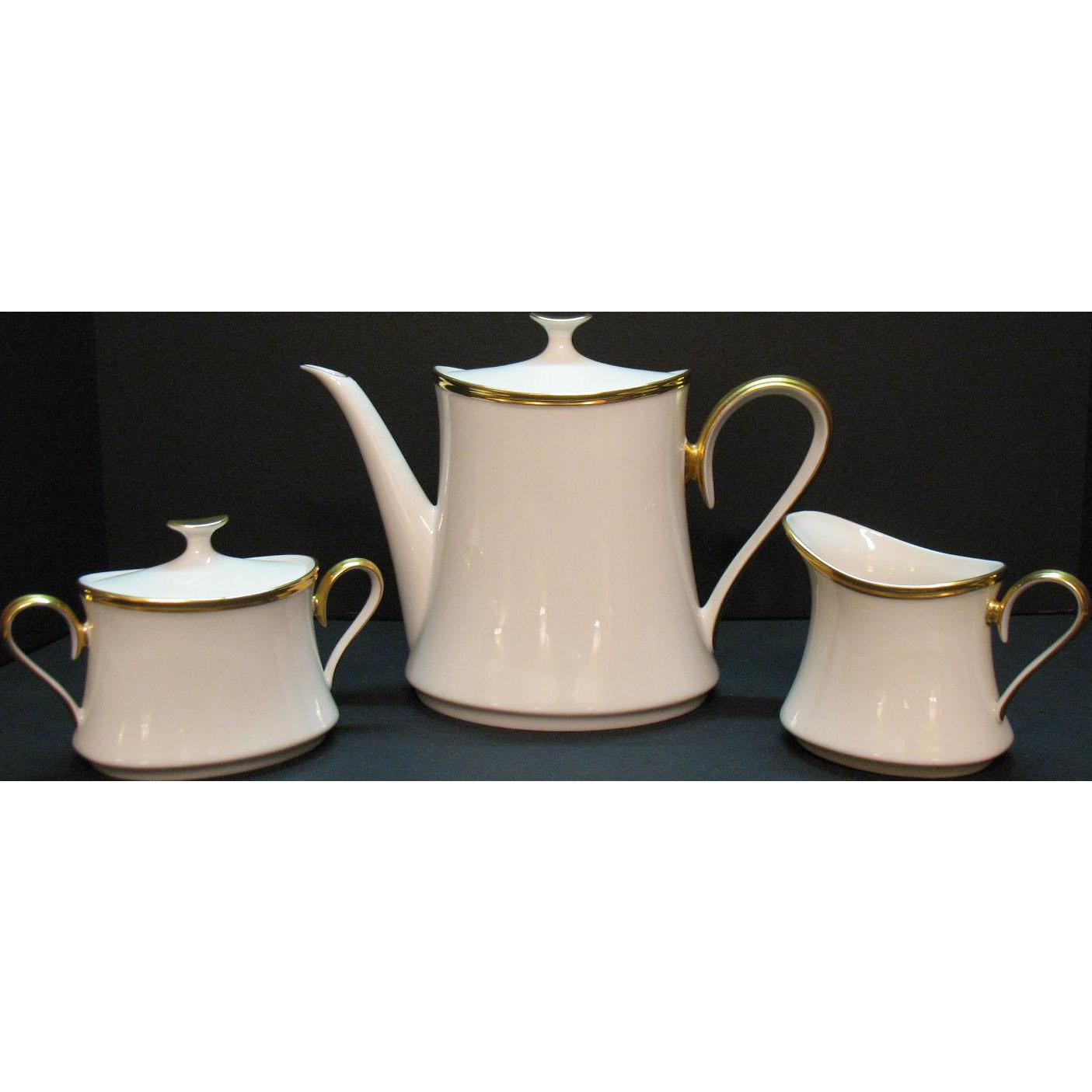 Vintage Lenox Tea/Coffee Pot Sugar & Creamer Set Eternal Pattern 1960-70s Very Good Condition