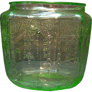 Vintage Depression glass Hocking Princess Pattern Green Cookie Jar Bottom 1931-34 Vintage Condition