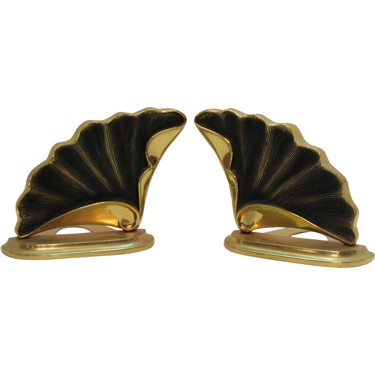 Vintage Brass Bookends Sea Shell Design Crowning Touch Collections 1970s Taiwan R.O.C. Good Condition
