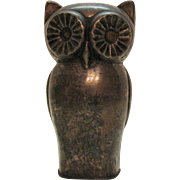 Vintage Metal Owl Still Bank 1950s Good Condition