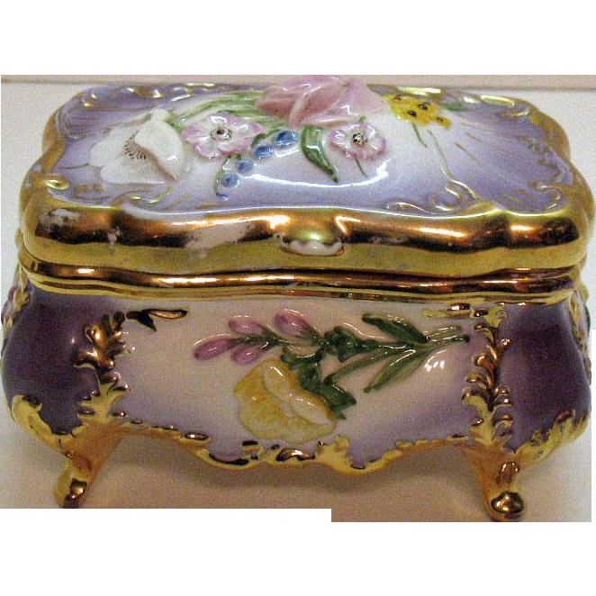 Vintage Ceramic Vanity Box Signed 1950s Good Vintage Condition