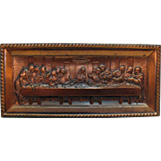 Vintage Last Supper Wall Plaque Pot Metal Copper Wash 1950s Good Condition