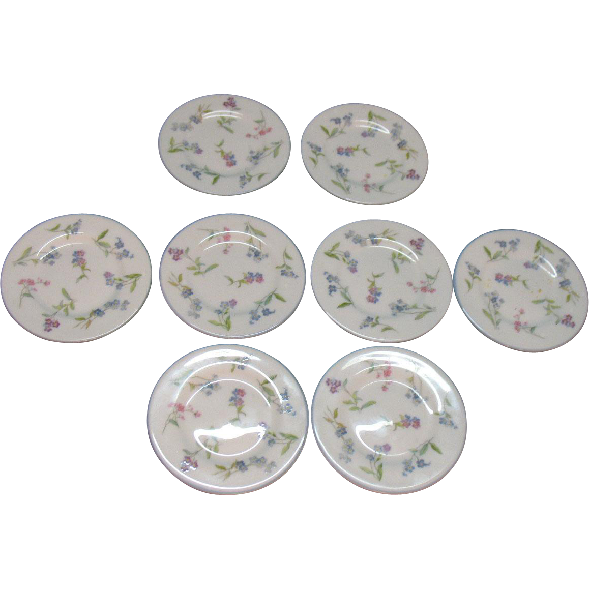 Vintage 8 Royal Worcester Porcelain Butter Pats Forget Me Not Pattern Very Good Condition