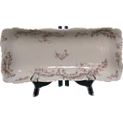 Vintage Limoges Serving Tray Pink Roses on Vines Attached to Lattice. 1888-96 Vintage Condition