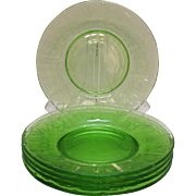 Vintage 5 Green Depression glass Plates Optic & Cut Design Good Condition.
