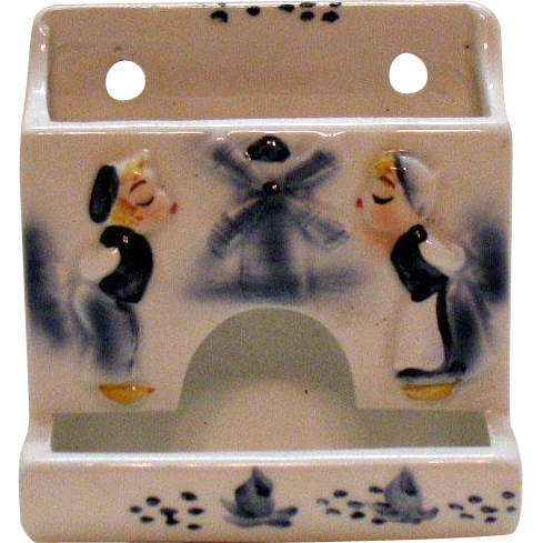 Vintage Ceramic Dutch Motif Wall Mount Match Holder 1950s Enesco Good Condition