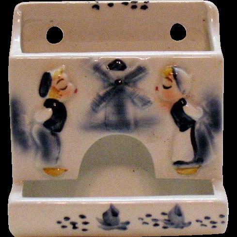 Vintage Ceramic Dutch Motif Wall Mount Match Holder 1950s Enesco Good Condition