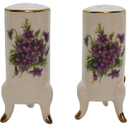 Vintage Footed Ceramic S&P Shakers Violets Motif 1960-70s Good Condition