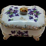 Vintage Ceramic Dresser/Vanity Box 1950-60s Violets Motif Good Vintage Condition