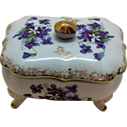 Vintage Ceramic Dresser/Vanity Box 1950-60s Violets Motif Good Vintage Condition