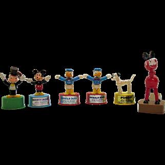 Vintage 5 Push Bottom Disney Toys One British 1960-70s Good Condition