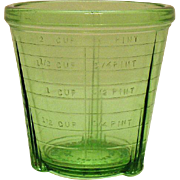 Vintage Green Depression glass Mixer Bottom 2 Cup