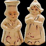 Vintage Miniature S&P Man & Woman Chefs 1950s Good Condition