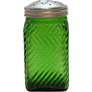 Vintage Owens Illinois Green Depression glass Shaker Diagonal Lines Vintage Condition