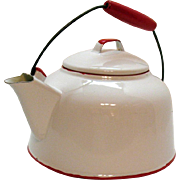Vintage Enamelware White Teapot Red Trim & Wooden Handle 1930-50s Good Condition