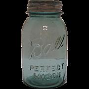 Vintage 14 Blue Ball Quart Canning Jars Zinc Lids 1923-33 Good Condition