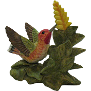 Very Nice Vintage Hummingbird Bisque Porcelain Figurine 1996 Bronson Collectibles Very Good Condition
