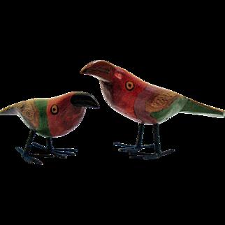 Vintage Folk Art Wood Handmade & Hand Painted Bird Figurines Toucans 1950-60s Very Good Condition