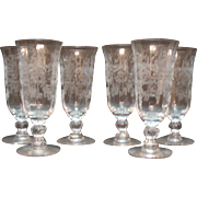 Vintage 6 Heisey Juice Glasses in Orchid Pattern 1940-57 Good Condition