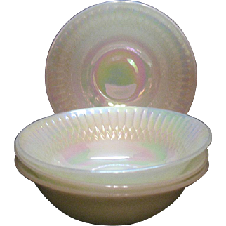 Vintage 4 Federal Cereal Bowls n Moonglow Pattern Iridescent 1970-74 Good Condition