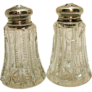 Vintage Sterling Silver Top S&P Shakers Cut Glass Design 1920-30s