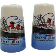 Vintage Souvenir S&P Shakers Queen Mary Palm Beach California 1960s Good Condition