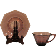 Vintage Six Cup & Saucer Sets by Hazel Atlas Moroccan Amethyst 1960s