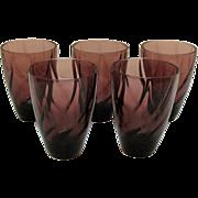 Five Vintage Hazel Atlas Tumblers Moroccan Amethyst Pattern Swirl Design 1960s Good Condition