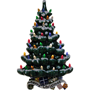 Very Rare Hanging Ceramic Christmas tree Faux Plastic Lights 1970 Good Condition