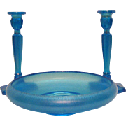 Vintage Fenton Stretch Glass in Celeste Blue Console Bowl & Candle Holders 1923-28 Good Condition