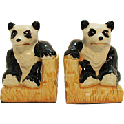 Vintage 1950s Panda Bear Bookends Good Condition