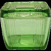 Vintage Hazel Atlas Criss cross Pattern Green Refrigerator Dish 1920-40s
