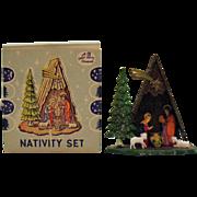 Vintage Miniature Christmas Nativity Scene Plastic 1950s Complete Good Condition