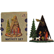 Vintage Miniature Christmas Nativity Scene Plastic 1950s Complete Good Condition