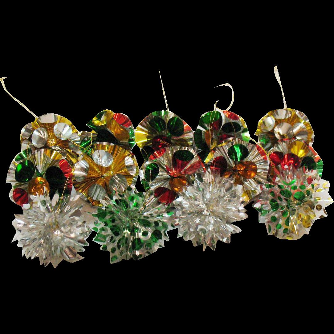 Vintage cellophane plastic christmas tree ornaments