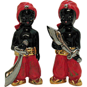 Vintage Black Memorabilia Figures with Scimitars 1930-40s Possible Shriners Reference Good Condition