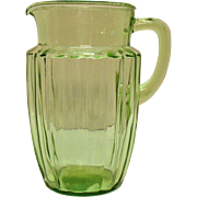 Vintage Anchor Hocking Green Depression glass Pitcher in Pillar Optic Pattern No Ice Lip Good Condition