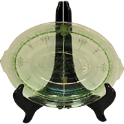 Vintage Hocking Green Depression glass Oval Vegetable Bowl in Cameo Pattern 1930-34 Good Condition
