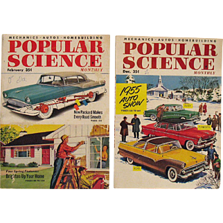 Two Vintage Popular Science Monthly Magazines 1954 & 1955 Good Condition