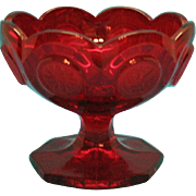 Vintage Fostoria Ruby Red Coin glass Jam/Jelly Holder from 1969-81 Good Condition